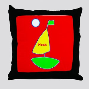 Sailing Sailboat Red Yellow Green 4No Throw Pillow