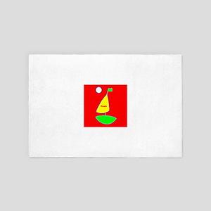 Sailing Sailboat Red Yellow Green 4Noa 4' x 6' Rug