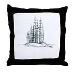 Forest Island Sketch Throw Pillow