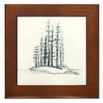 Forest Island Sketch Framed Tile