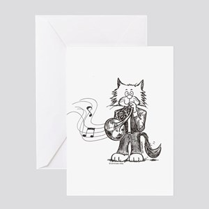 CatoonsT French Horn Cat Greeting Card