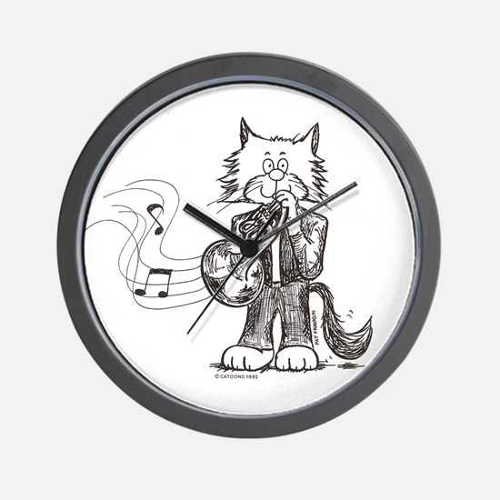 French Horn Cat Wall Clock