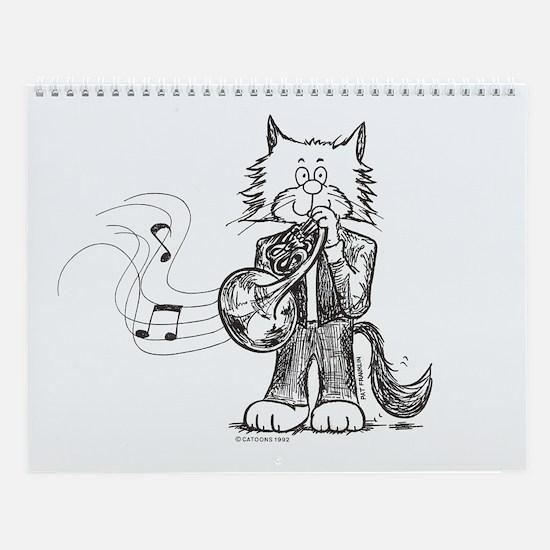 French Horn Cat Wall Calendar