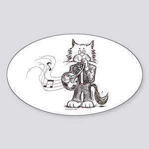 CatoonsT French Horn Cat Oval Sticker