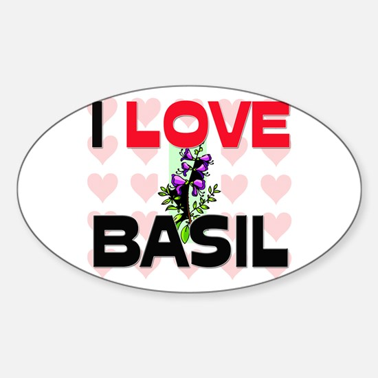 I Love Basil Oval Decal