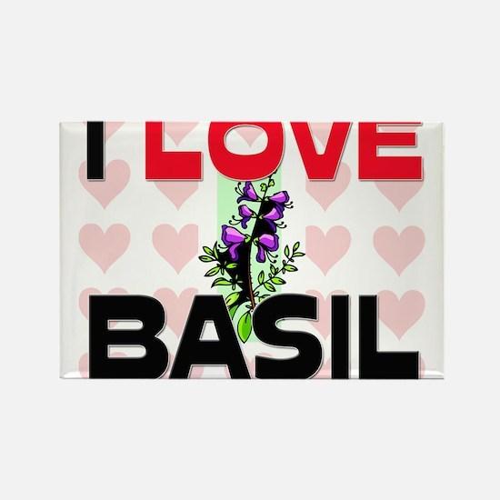I Love Basil Rectangle Magnet