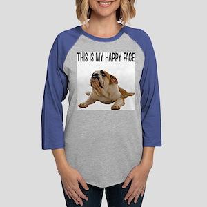 Happy Face Bulldog Womens Baseball Tee