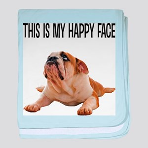 Happy Face Bulldog baby blanket