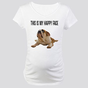 Happy Face Bulldog Maternity T-Shirt