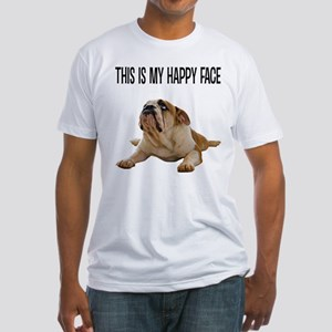 Happy Face Bulldog Fitted T-Shirt
