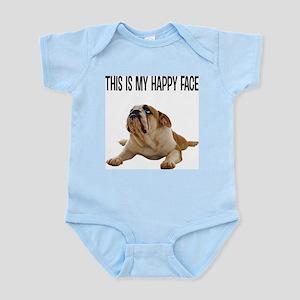 Happy Face Bulldog Baby Light Bodysuit