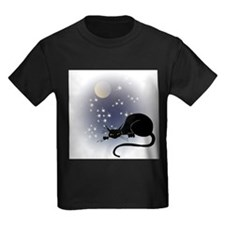 FIN-cat-moon-stars-1 Kids Dark T-Shirt