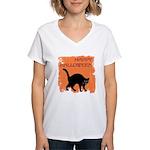 happy-halloween Women's V-Neck T-Shirt