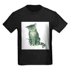 tabby-kitten-FIN Kids Dark T-Shirt