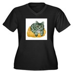 tabby-cat-1-FIN Women's Plus Size V-Neck Dark T-Sh