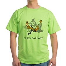 Crazy Cat Lady Green T-Shirt
