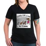 Crazy Cat Lady Trainee Women's V-Neck Dark T-Shirt