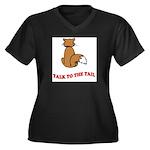 cat-talk-to-the-tail Women's Plus Size V-Neck Dark