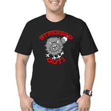 FIN-stressed-out-cat Men's Fitted T-Shirt (dark)