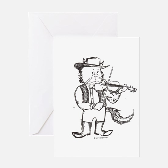 CatoonsT Fiddle Cat Greeting Card