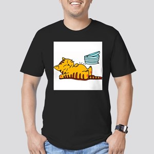 cartoon-fat-cat Men's Fitted T-Shirt (dark)