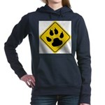 cat-crossing-sign.... Women's Hooded Sweatshirt