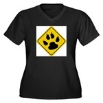 cat-crossing-sign.... Women's Plus Size V-Neck Dar