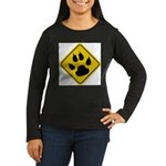 cat-crossing-sign.... Women's Long Sleeve Dark T-S