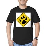 cat-crossing-sign.... Men's Fitted T-Shirt (dark)