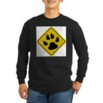 cat-crossing-sign.... Long Sleeve Dark T-Shirt
