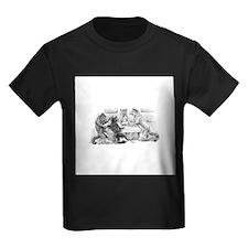 FIN-cats-playing-poker Kids Dark T-Shirt