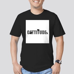 FIN-cattitude-text Men's Fitted T-Shirt (dark)
