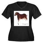 Horse Cave Painting Women's Plus Size V-Neck Dark
