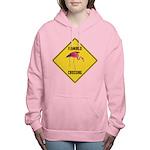 Flamingo Crossing Sign Women's Hooded Sweatshirt