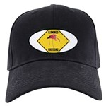 Flamingo Crossing Sign Black Cap with Patch