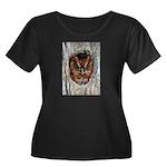Owl Gifts Women's Plus Size Scoop Neck Dark T-