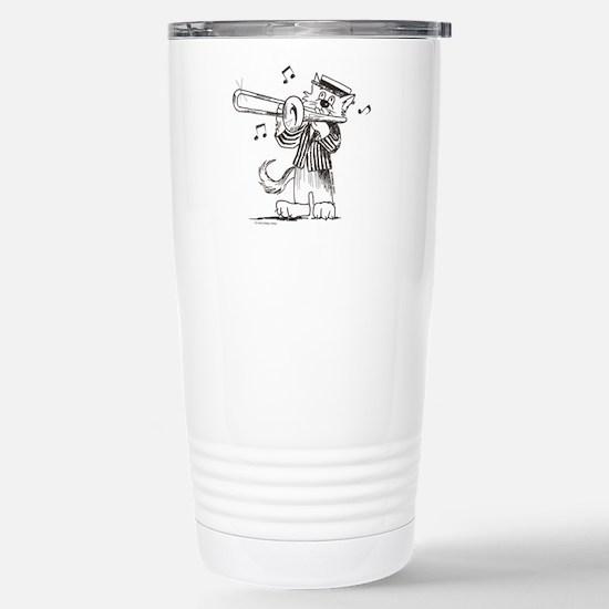CatoonsT Trombone Cat Stainless Steel Travel Mug