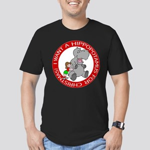 FIN-hippo-christmas-girl Men's Fitted T-Shirt (dar