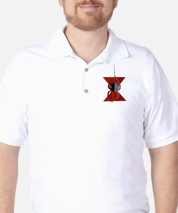 Red Hourglass Spider Golf Shirt