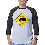 crossing-sign-bison Mens Baseball Tee
