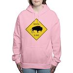 crossing-sign-bison Women's Hooded Sweatshirt
