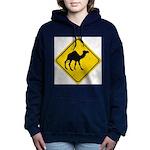 Camel Crossing Sign Women's Hooded Sweatshirt