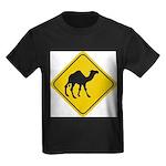 Camel Crossing Sign Kids Dark T-Shirt