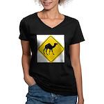 Camel Crossing Sign Women's V-Neck Dark T-Shirt