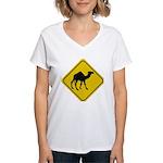 Camel Crossing Sign Women's V-Neck T-Shirt