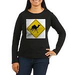 Camel Crossing Sign Women's Long Sleeve Dark T-Shi