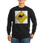 Camel Crossing Sign Long Sleeve Dark T-Shirt