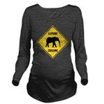 crossing-sign-elephant Long Sleeve Maternity T-Shi