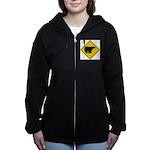 bear-crossing-sign-... Women's Zip Hoodie