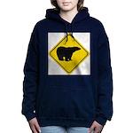bear-crossing-sign-... Women's Hooded Sweatshirt